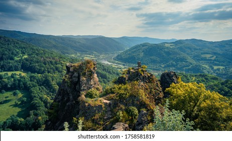 Beautiful view to valley with river Labe in czech central mountain from hill Vrabinec, Czech republic. Green mixed forests in pictoresque valley in czech central mountain - Shutterstock ID 1758581819