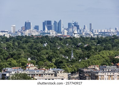 Beautiful view of valley of Seine River and panorama of Paris on backgrounds from lookout near Chateau de Saint-Germain-en-Laye in city Saint-Germain-en-Laye (13 miles west of Paris), France.