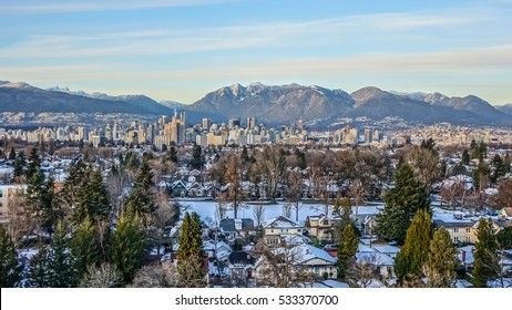 Beautiful view of Vancouver in Snow, British Columbia, Canada