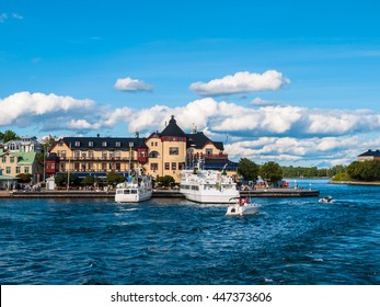 Beautiful view of Vaxholm town from the cruise ship, on a sunny summer day in the Vaxholm Municipality, Stockholm County, Sweden