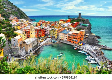 Beautiful view of Vernazza .Is one of five famous colorful villages of Cinque Terre National Park in Italy, suspended between sea and land on sheer cliffs. Liguria region of Italy.