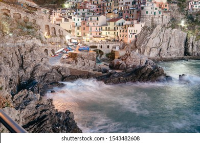 Beautiful view of Vernazza - a village in the National park of Cinque Terre, Italy. Colorful harbor at Vernazza, Cinque Terre, Liguria, Italy. Seascape in Five lands, Cinque Terre National Park.