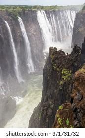 Beautiful view of the Victoria Falls, boarder of Zambia and Zimbabwe. UNESCO World Heritage