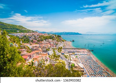 Beautiful view of Vietri sul Mare, the first town on the Amalfi Coast, with the Gulf of Salerno, province of Salerno, Campania, southern Italy