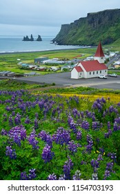 Beautiful view of Vik church and the city from view point of Vik, southern Iceland