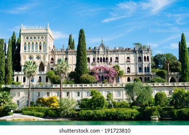Beautiful View to a villa on isola del Garda at lake Garda