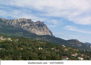 Beautiful view of the village of Alupka and the Trident of the top of mount AI-Petri. Yalta, Crimea, Russia