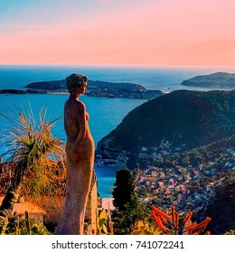 Beautiful view of the village of Eze, sculptures, botanical garden with cacti, Mediterranean, French Riviera, azure coast, France