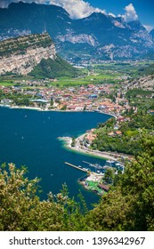 beautiful view of a village Nago-Torbole on the north of Garda lake, Italy