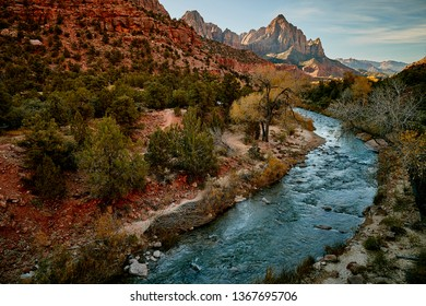 Beautiful view of the virgin river and the Narrows trail in the river at Zion National Park Utah state usa