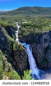 Beautiful view of the Voringsfossen waterfall (Bjoreio river). National park Hardangervidda, EidFjord, Norway.