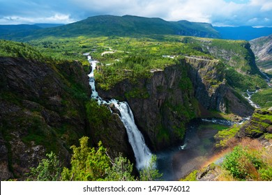 Beautiful view of the Voringsfossen waterfall. National park Hardangervidda, Eidfjord, Norway.