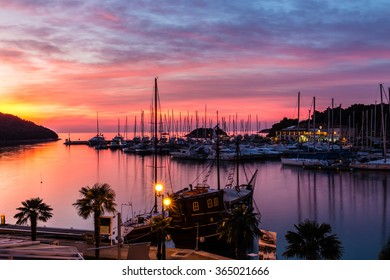Beautiful View Of Vrsar Port During Colorful Sunset-Istria,Croatia,Europe