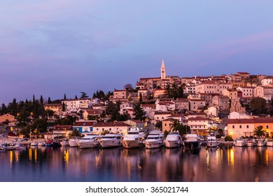 Beautiful View Of Vrsar Port And Vrsar Village With Landmark Of Church Tower After Sunset-Istria,Croatia,Europe
