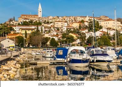 Beautiful View Of Vrsar Port And Vrsar Village With Landmark Of Church Tower-Istria,Croatia,Europe
