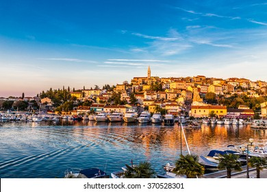 Beautiful View Of Vrsar Port And Vrsar Village With Landmark Of Church Tower At Sunset-Istria,Croatia,Europe