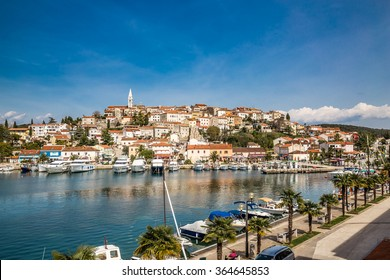 Beautiful View Of Vrsar Village With Landmark Of Church Tower-Istria,Croatia,Europe