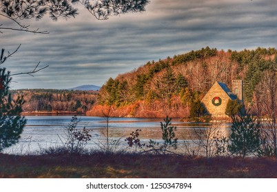 Beautiful view of Wachusett Reservoir with the Old Stone Church and Wachusett Mountain in the background