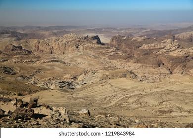 Beautiful view of Wadi Sabra desert in Hashemite Kingdom of Jordan. Amazing scenery of stony desert in Jordan, camera lens with polarisation filter