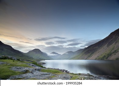 beautiful view of wastwater lake in the lake district, cumbria, england at sunset