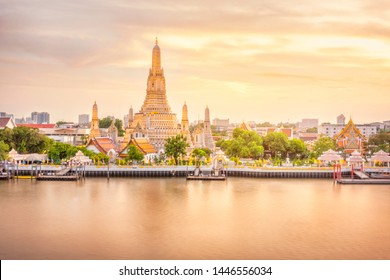 Beautiful view of Wat Arun Temple at twilight in Bangkok, Thailand