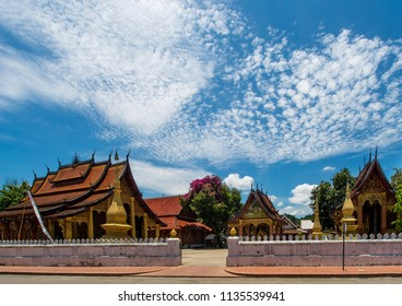 Beautiful view of the Wat Sensoukharam temple in Luang Prabang, Laos, on a sunny day