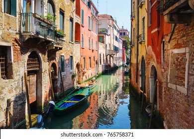 Beautiful view of water street and old buildings in Venice, ITALY
