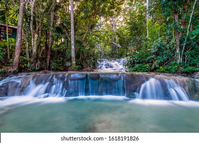 A beautiful view of a waterfall in the jungle - Dunn's River Falls