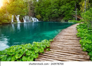 Beautiful view of waterfalls with turquoise water in Plitvice National park, Croatia, Europe