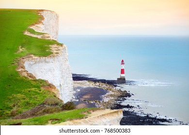 Beautiful view of white chalk cliffs of the Seven Sisters at Birling Gap coastline, Eastbourne, East Sussex, UK