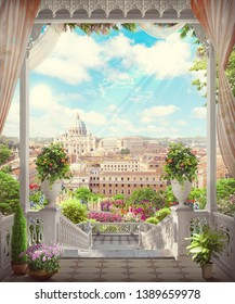 Beautiful view of the white steps to Rome in flowers.