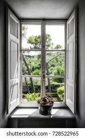 Beautiful view from the window. Italy, Villa Bordoni.