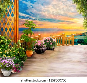 Beautiful view. Wooden terrace. Digital fresco