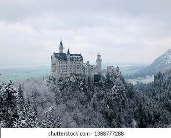 Beautiful view of world famous Neuschwanstein Castle, in spring near Fussen, southwest Bavaria of Germany