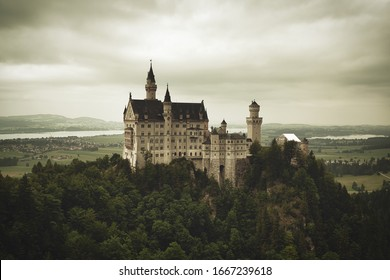 Beautiful view of world-famous Neuschwanstein Castle. A romantic Castle built for King Ludwig II on a rugged cliff near Fussen, southwest Bavaria, Germany