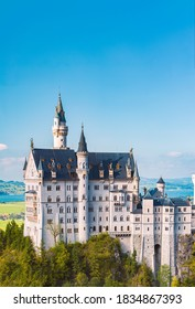Beautiful view of world-famous Neuschwanstein Castle, the nineteenth-century Romanesque Revival palace built for King Ludwig II on a rugged cliff near Fussen, southwest Bavaria, Germany, Europe