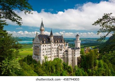 Beautiful view of world-famous Neuschwanstein Castle, the 19th century Romanesque Revival palace built for King Ludwig II, with scenic mountain landscape near Fussen, southwest Bavaria, Germany.