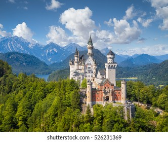Beautiful view of world-famous Neuschwanstein Castle, the romantic 19th century Romanesque Revival palace built for King Ludwig II, with scenic mountain landscape in Fussen, southwest Bavaria, Germany