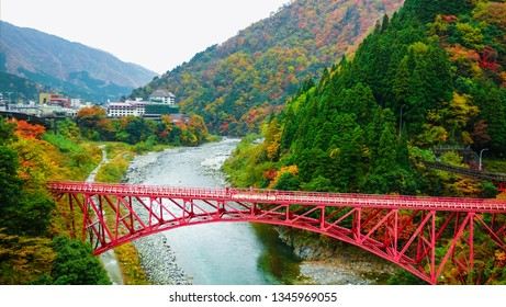 Beautiful view of yamabiko red bridges and mountain river to travel in the train to Kurobe gorge during the Autumn Season, Toyama, Japan ,Leaves color change.