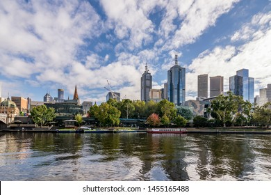 Beautiful view of the Yarra River with the reflection of the skyscrapers of the central business district of Melbourne, Australia