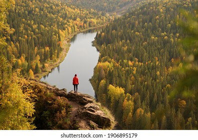 Beautiful Viewpoint on Usva River in Ural Mountains. Woman Standing on the Rock and Looking at the Usva River, Perm Region, Russia.