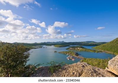 beautiful viewpoint at santa martha bay curacao