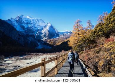 Beautiful Viewpoint of Xiannairi Peak , Yading Natural Reserve Park, Daocheng, Sichuan - China