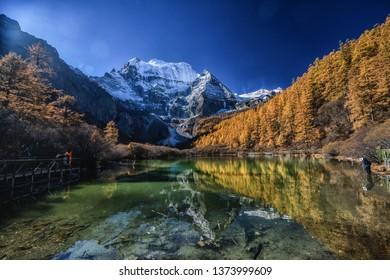 Beautiful Viewpoint of Xiannairi Peak , Yading Natural Reserve, Daocheng , Sichuan - China