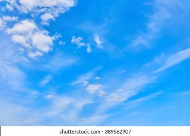 Beautiful views of  blue sky, white clouds arranged randomly