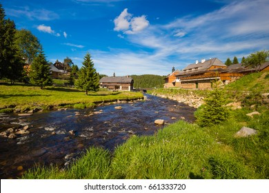 Beautiful views of Bohemian Forest - Sumava mountains from Modrava village, Czech republic