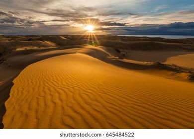 Beautiful views of the desert landscape. Gobi Desert. Mongolia.