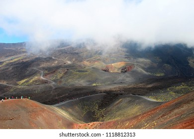 Beautiful views of Etna volcano craters, Sicily, Italy
