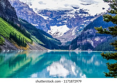 Beautiful views of Lake Louise in Banff National Park in the Rock Mountains of Alberta Canada