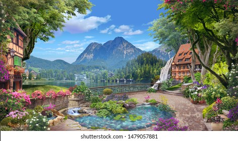 Beautiful views of the lake and mountains from the blooming garden. Digital  mural. Wallpaper.